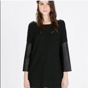 Zara Faux Leather Sleeve Jumper Sweater